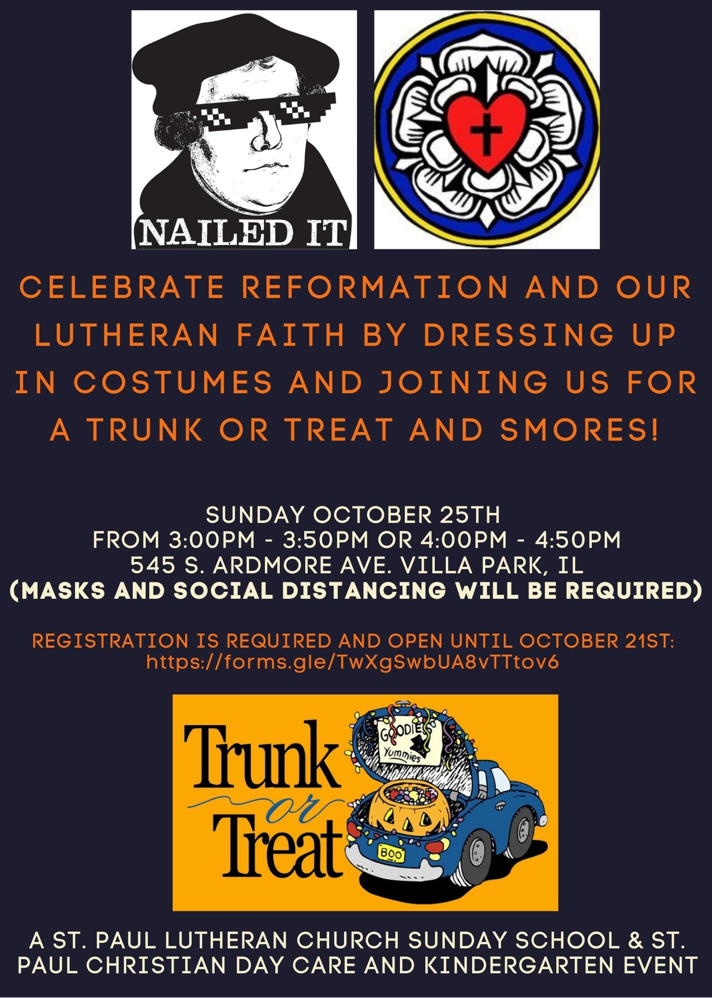 Flyer for trunk or treat on October 25